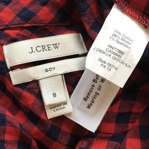 "J. Crew Tops - J.Crew ""Boy"" Plaid Button Down Shirt. sz 8"